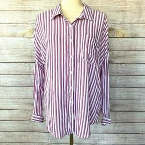 MAURICES Striped Button Down Shirt Large